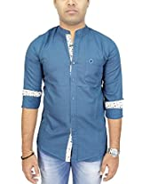 AA' Southbay Men's Blue Linen Cotton Mandarin Collar Long Sleeve Solid Casual Party Shirt