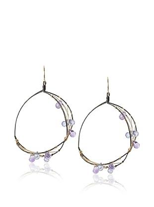 Misha Iolite Two-Tone Hoop Earrings