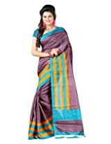 Lookslady Printed Brown Bhagalpuri Silk Saree For Women