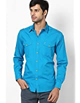 Aqua Blue Trim Fit Casual Shirt John Players