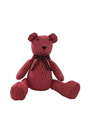 Winward Pinstripe Teddy Bear, Red/Burgundy