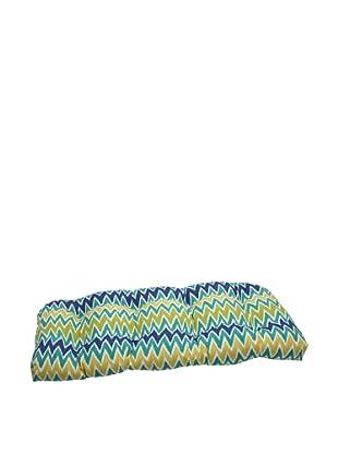 Pillow Perfect Outdoor Zulu Wicker Loveseat Cushion, Blue/Green