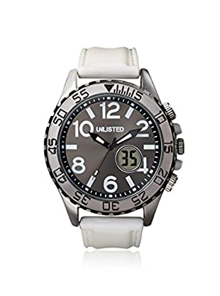 UNLISTED WATCHES Men's UL1277 City Streets Grey Dial and Case Analog White Strap Watch