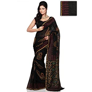 Utsav Fashion SKX275 Black Chanderi Silk Saree