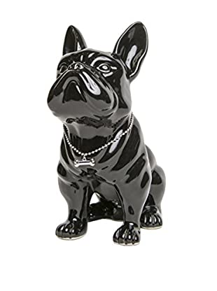 Interior Illusions Bulldog Bank with Necklace, Black