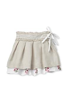 Simonetta Girl's Pleated Linen Skirt (Beige)