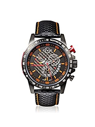 GV2 by Gevril Men's 9902 Scuderia Black & Orange Leather Watch