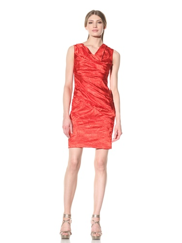 Vera Wang Women's Sleeveless Pressed Satin Draped Dress (Red)
