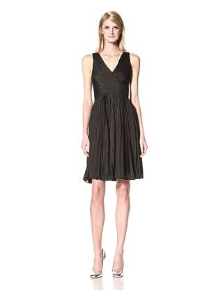 HALSTON HERITAGE Women's V-Neck Pleated Dress (Black)