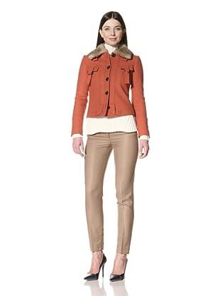 Derek Lam Women's Jacket with Fur Collar (Rust)