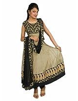 Fashiontra Women's Cotton Anarkali Suit (MK7177_Grey_Large)