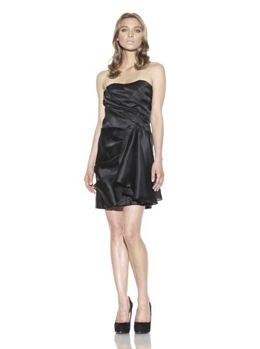 Christian Siriano Women's Side Flounce Cocktail Dress (Black)