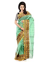 B3Fashion Sea Green coloured Traditional Bengal Tant Handloom saree with elegant Yellow & Navy Blue Striped border withMango motifs and 1000 Buti work all over the saree a perfect traditional saree with a twist