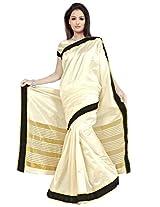 Vibes Tassar Silk Patch Work Saree (S39-179C _off-White)