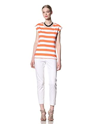 Pink Tartan Women's Zipper Stripe Tee (White/Neon Orange)
