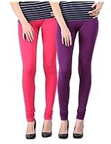 Blackmilan Women's Leggings (ZBMWL-1004-Pink-Purple_Multi-Coloured_X-Large)