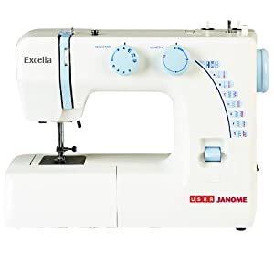 Usha Janome Excella Automatic Zig-Zag Sewing Machine (White and Blue)