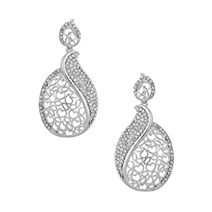 Voylla Little Hearts Decorated Dangler Earrings Encrusted with Cz Crystals