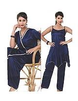 Indiatrendzs Women's Nighty Sexy Hot Dark Blue 3pc Set Lingerie Nightwear