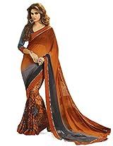 Inddus Women Cognac & Grey Georgette Printed saree