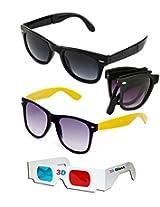 Hrinkar Foldable Wayfarer Sunglasses + Wayfarer Sunglasses + 3D Glasses - Sun3108
