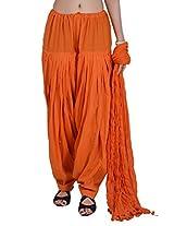 Jaipur Kala Kendra Women's Patiala Salwar Dupatta Set (10006_Orange_Large)