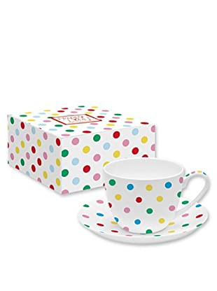 Easy Life Design Tazza Colazione con Piatto in Porcellana Bone China Happy Pois (Multicolore)