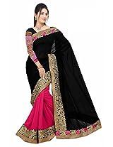 Kesar Surat Sarees Style Georgette Saree (KESB230_BLACK|| PINK)