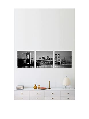 New York City Brooklyn Bridge at Dusk Panoramic Giclée Canvas Print Triptych