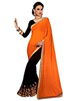 Faux Georgette Black & Orange Colour Saree for Party Wear