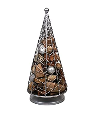 Jodhpuri Potpourri-Filled Wire Christmas Tree, Silver/Brown