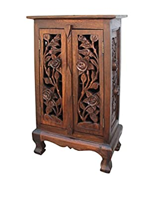 Asian Art Imports Tall Carved Flower Cabinet