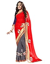 Manvaa Multi-Color Embroidered Casual Wear Georgette Saree With Blouse Piece