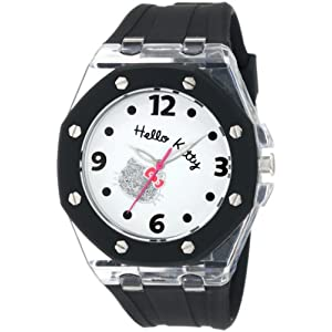 Hello Kitty Women's HWL1377BLK Black Rubber Strap and Glitter Face Watch