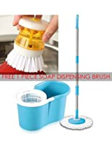 House of Quirk Easy 360 degree cleaning Bucket Mop with 2 microfibres Magic Mop, Easy Mop, Spin Mop - Blue