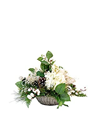 Creative Displays Winter Floral & Ornament Ball Basket, White/Silver/Green