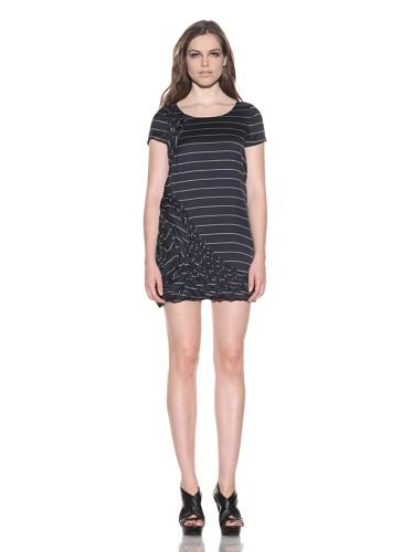 under.ligne by Doo.Ri Women's Appliqu茅 Silk Dress (Navy Stripe)