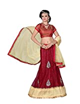 Surupta Maroon Coloured Self Design Women's Lehenga Choli