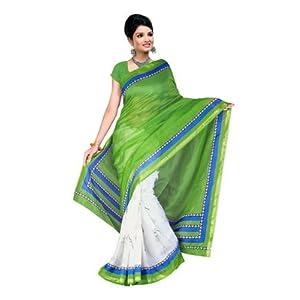 Art silk sarees - Fabdeal Peacock Green Silk Kota Printed Saree