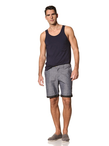 Timo Weiland Men's Cuffed Short (Denim Pinstripe)