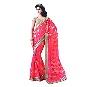 Aayna Creations Gold Colour Jute Border Work With Blouse Piece Uz-89