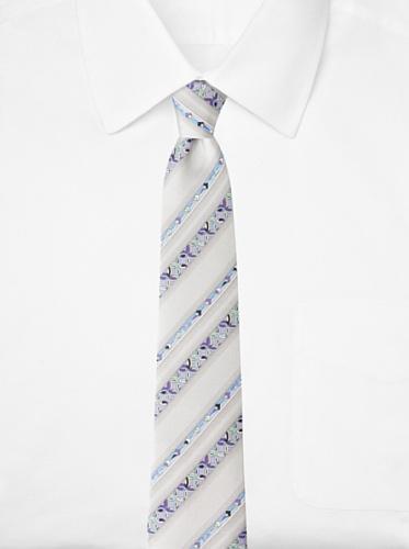 Emilio Pucci Men's Pinwheel Stripe Tie, Grey/Lavender