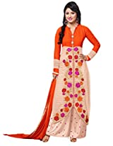 CrazeVilla women Orange color party wear straight salwar suit