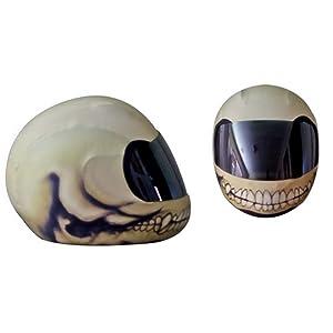 SkullSkins Bone Head Motorcycle Helmet Street Skin (Cream)