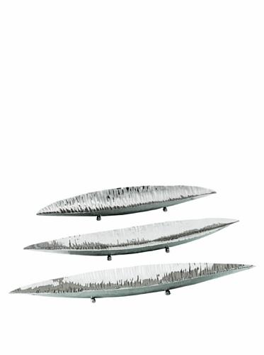 Sidney Marcus Set of 3 Canoe Platters (Polished Steel)