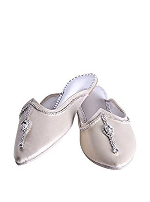 Karma Zari Slipper (Pearly Gold/Pearly White)