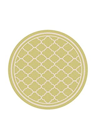 Universal Rugs Garden City Indoor/Outdoor Transitional Rug, Yellow, 8' Round