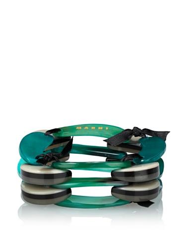 MARNI Women's Triple-Layered Bracelet (Green)