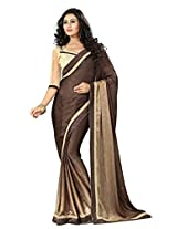Brown Color Jacqaurd and Crepe Saree with Border and Blouse 4002