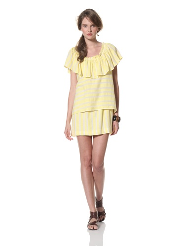 Whit Women's French Maxi Stripe Sol Dress (Yellow/White)